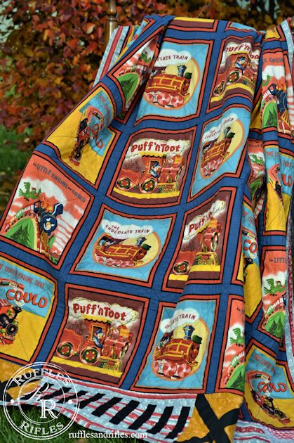 Vintage train quilt for Train themed fabric