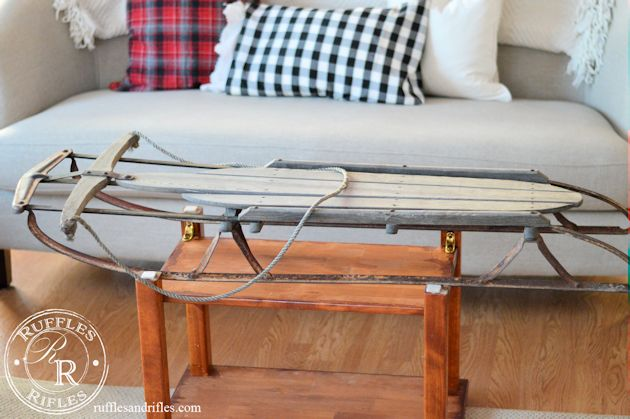 Vintage sled turned coffee table for Sled coffee table