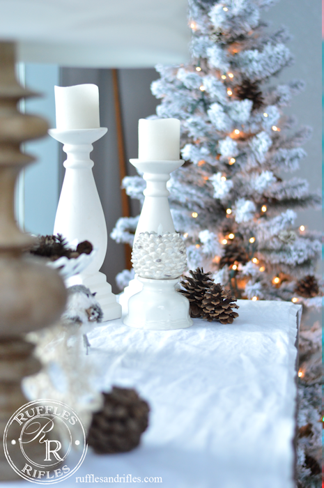 Winter decor includes bottle brushes and anythign with the allusion of snow.