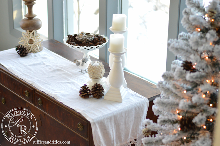 Winter decor includes bottle brushes and anythign with the illusion of snow.