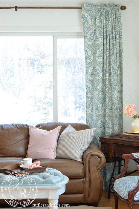 Blush and Blue Spring Accents in the Living Room
