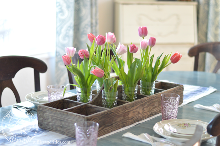 A spring table of blush and blue