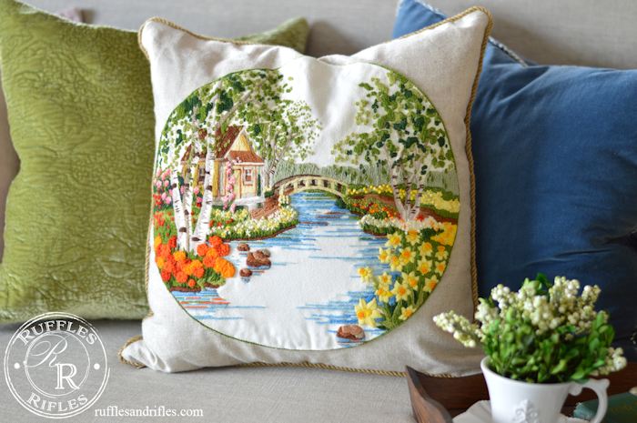 Spring Embroidered Pillow